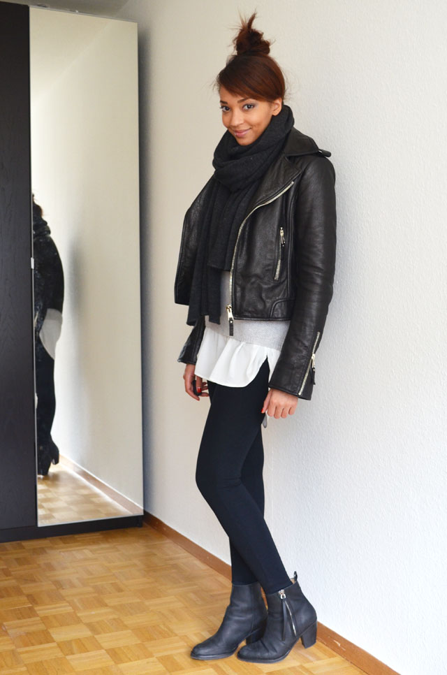 mercredie-blog-mode-geneve-suisse-fashion-blogger-zara-pistol-acne-look-outfit-american-apparel-legging-harlem-balenciaga-perfecto-biker-jacket-cuir-leather-black-silver-zips-zippers-argent