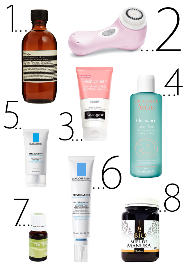 mercredie-blog-beaute-beauty-talk-acne-la-roche-posay-avene-miel-de-manouka-boutons-tea-tree-aesop-orange-amere-clarisonic-neutrogena-effaclar