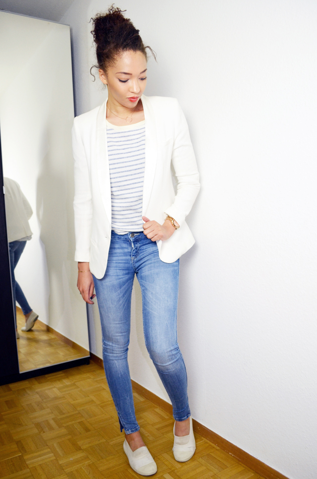 mercredie-blog-mode-geneve-mariniere-lafayette-collection-jean-slim-skinny-zara-zip-bun-curly-hair-nappy-afro-natural-bensimon-blanches-look-blazer-crepe-ba&sh-lipova