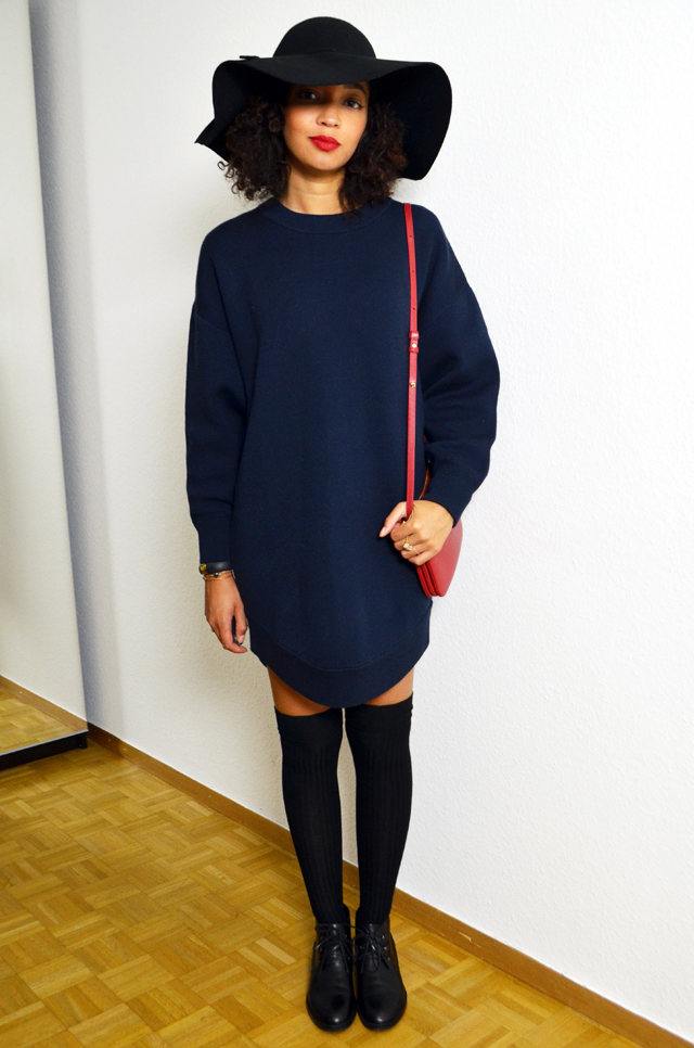 mercredie-blog-mode-over-the-knee-tights-socks-forever21-chaussettes-hautes-robe-pull-and-other-stories-capeline-celine-trio-bag-rouge-red
