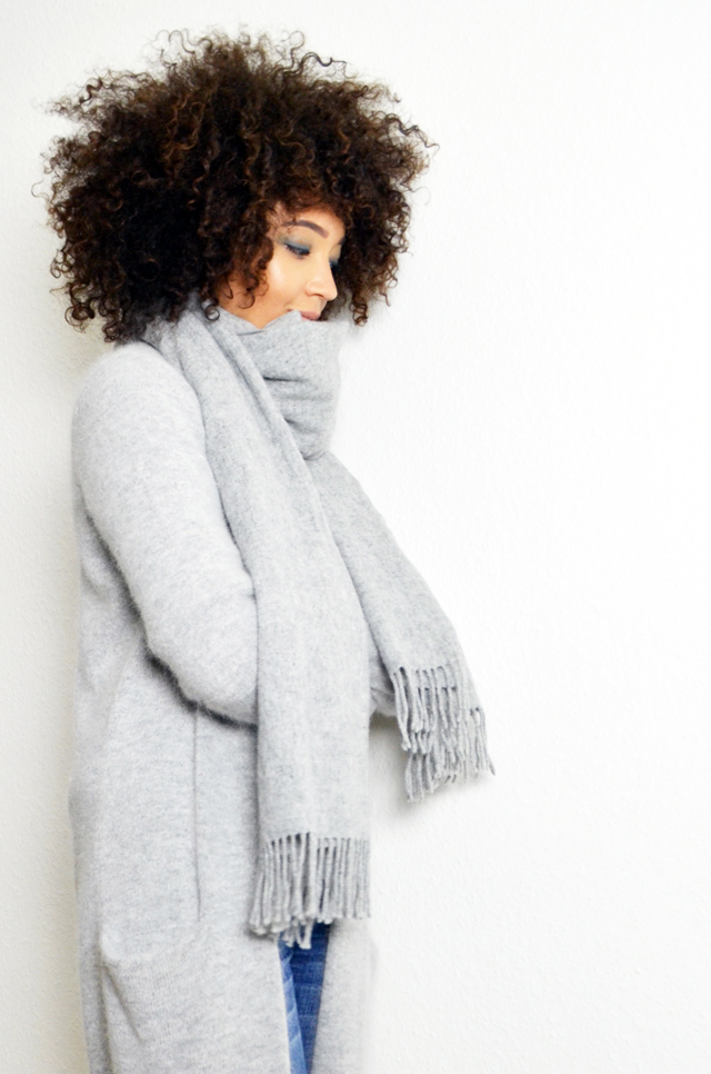 mercredie-blog-mode-gilet-long-acne-like-afro-nappy-natural-hair-echarpe-h&m