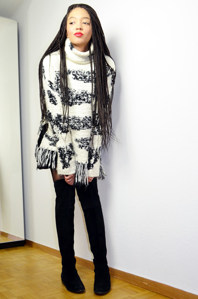 mercredie-blog-mode-geneve-pull-poncho-laine-zara-box-braids-hairstyle-chinese-laundry-boots-riley