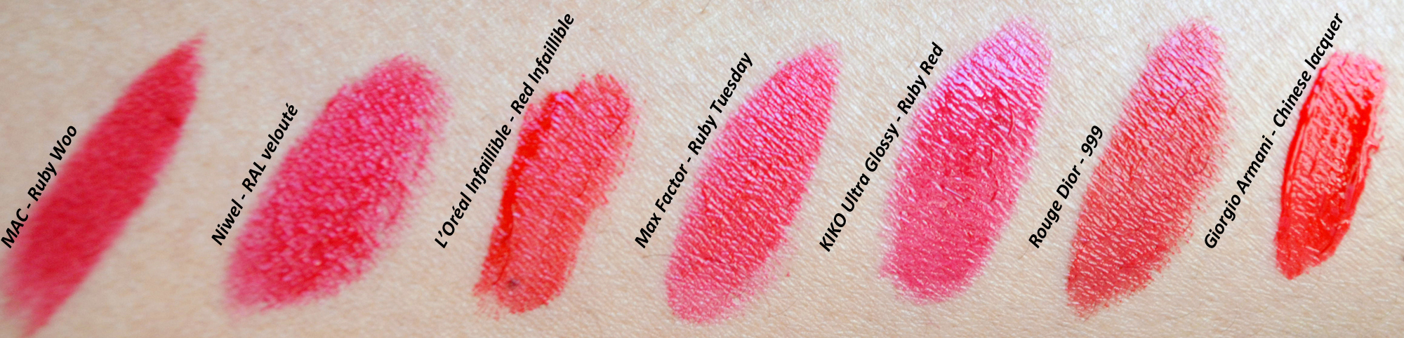 mercredie-blog-mode-geneve-beaute-maquillage-rouges-a-levres-rouge-lipstick-iconique-mac-ruby-niwel-giorgio-armani-l-oreal-dior-swatch-swatches-test