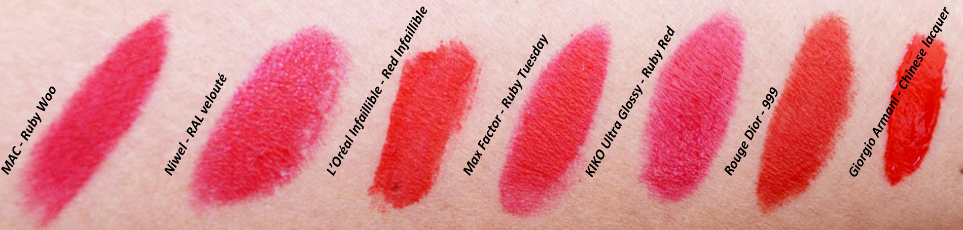 mercredie-blog-mode-geneve-beaute-maquillage-rouges-a-levres-rouge-lipstick-iconique-mac-ruby-niwel-giorgio-armani-l-oreal-dior-swatch-swatches-test2