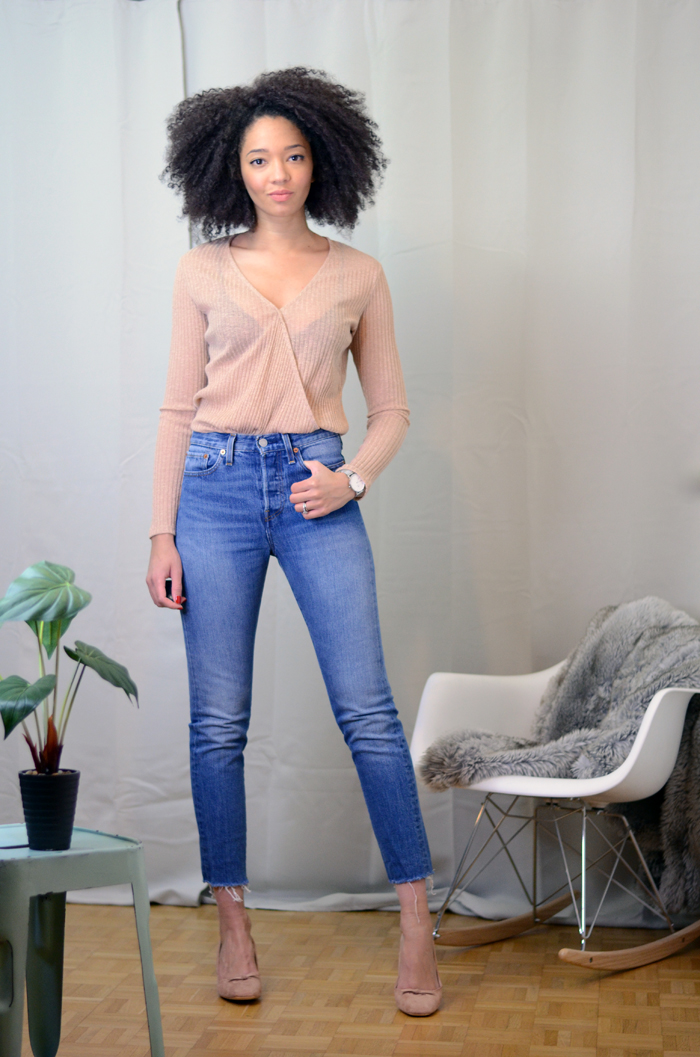 mercredie-blog-mode-zara-promod-ballerines-talons-nude-levis-wedgie-fit-jeans-cache-coeur-big-afro-natural-hair